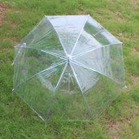 Wholesale 2016 new long handle pvc poe suny rainy creative transparent umbrella plain green rods umbrella