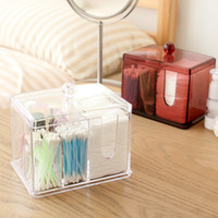 Wholesale Acrylic makeup organizer with lid Clear Cotton Swabs Stick Storage box cosmetic containers plastic box case home decor