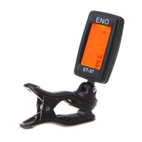 Wholesale Free DHL ENO ET LCD Mini Guitar Tuner Clip on Electronic Guitar Chromatic Universal Bass Violin Ukulele Tuner