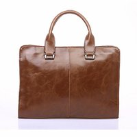 Wholesale New Brown Leather Mens Briefcase Laptop Bags Men s Travel Bag Business Shoulder Bags Office bags for Man Handbag bolsa
