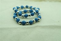 lava rock - Europe and the United States natural volcano hot style bracelet with blue lava rock bracelet with radiation
