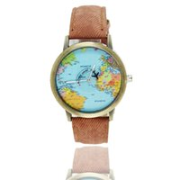antique world map canvas - The world map plane antique watch Men and women with canvas and leather Roman quartz watch