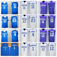 anthony davis - Kentucky Wildcats John Wall Anthony Davis College Jerseys Rajon Rondo Skal Labissiere Karl Karl Anthony Towns Home Blue White