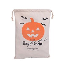 bag treats - 2016 Halloween Candy Gift Sack Treat or Trick Pumpkin Printed Bat Canvas Bag Children Party Festival Drawstring Bag