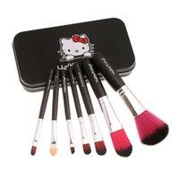Cheap Professional Hello Kitty 7 pcs Mini Makeup brush Set cosmetics kit make up tools for eyeshadow blush with Metal box gift