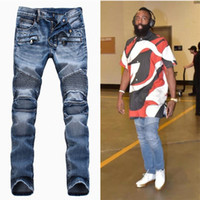 Wholesale Fashion Men s foreign trade light blue black jeans pants Balmain motorcycle biker men washing to do the old fold jeans Trousers