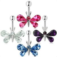 Wholesale Charming Body Piercing Jewelry Medical Steel Umbilical Butterfly Shaped Nail Belly Button Ring Colors