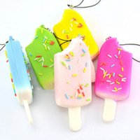 Wholesale Squishy Sprinkles Popsicle Phone Straps Soft Bread Scented Key Chains Kids Gift