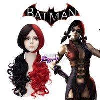 Wholesale Anime Red Mixed Black cm BATMAN Harley Quinn Cosplay Heat Resistant Wig