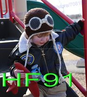 aviator custom - Custom made Crochet Knitted Pilot Hat Newborn Infant Toddler Cap Baby Boys Girl Aviator Cap Kids Christmas Hat Winter Children Beanie Cotton