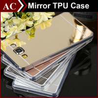 ace silicone - Acrylic Mirror Soft TPU Bumper Case For GALAXY J1 Ace J5 J7 Grand Prime Note Dustproof Electroplating Protective Cover