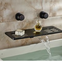Wholesale And Retail Modern Oil Rubbed Bronze Bathroom Faucet Soap Dish Shelf Dual Handles Vanity Mixer Tap Brass