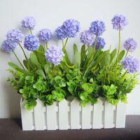 Wholesale Pastoral style pale purple lavender flowers flower ball wooden fence set Juan creative simulation flower set
