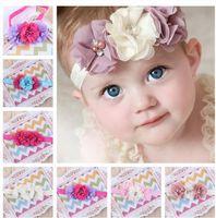 baby girl headwraps - 30 COLORS Baby girls Chiffon Flower Headbands Kids girl Handmade Pearls headwraps infant babies hairbands hair accessories