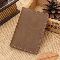 bank folders - 2016 new GUBINTU handmade first layer mad horse pickup bag leather leather vintage bank card folder