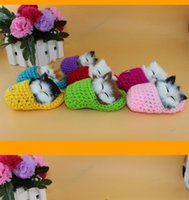 Wholesale New Colorful Simulation Animal Doll Sleeping Cats With Slippers Plush Toy Kids Birthday Gift Sounding Doll Decorations Colors