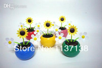 Wholesale The Newest Styles Per Three Flowers Swing No Batterty Flip Flap Happy Dancing Car Decoration Solar Flowers