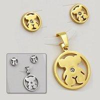 Wholesale Fashion Bear Zircon Stainless Steel Set Jewelry With Free Freight T0106
