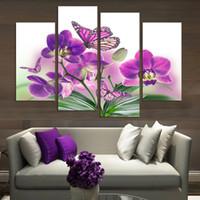 al por mayor pintura al óleo flor de la orquídea-4 Panel Flores hermosas de la orquídea de la mariposa impresas en lona para la decoración casera del hogar de la pared del arte de la pared de la pintura sin marco