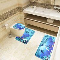 Wholesale 3Pcs New Sea World Design Bathroom Carpet Shark Cartoon Pedestal Lid Mat Cute Toilet Rug For Bathroom Decoration