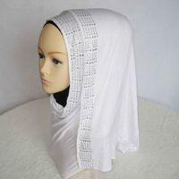 Wholesale New Design Fashion style Jersey material Rhinestone Shawl long Wrap high quality modal Muslim Hijab Scarf in stock