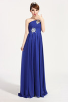 Wholesale Royal Blue One Shoulder Pleated Bridesmaid Dress With Beads Long Chiffon Party Dress Lace Up