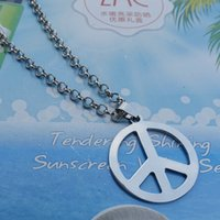 Wholesale 10pcs Hippie Stainless Steel Jewelry Silver Peace Sign Pendant Necklace for Men with cm Link Chain