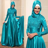 arab t shirt - Muslim Evening Dresses With Hijab Arab Kaftan Formal Lace Dubai With Long Sleeves High Neck Teal Blue Prom Gowns Long Custom Made