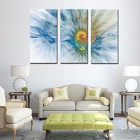Wholesale LK3178 Panel Abstract Chrysanthemum Flower Oil Painting for Modern Living Room Home Decoration Print on Canvas Giclee Artwork for Wall