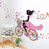 american classic bicycle - Dancing Girl wall sticker home decor butterfly sticker Bicycle and lovely girs sticker for home decor For Kids Rooms