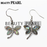 Wholesale Silver Plated Dragonfly Charm Paua Abalone Shell Earrings for Ladies Unique Jewelry Natural Abalone Shell Stone