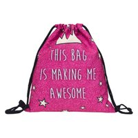 awesome school bag - awesome bag red D Printing backpack Who Cares Fashion Drawstring bag New school mochila mujer backpacks for teenage girls