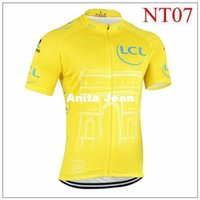 Wholesale 2015 Champion LCL yellow cycling tops Tour De France Cycling Jerseys Short Sleeve High Elastic Road Bicycle Wear size XS XL