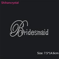 Wholesale Price cm Bridesmaid Rhinestone Iron On Rhinestone Wedding Transfer hotfix motif