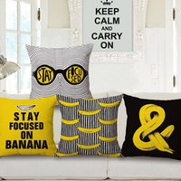 Wholesale Cartoon POP Art Monkey Stay Focused On Banana English Letters Cushion Covers Pillowcase Decorative Sofa Throws Linen Cotton Pillow Cover