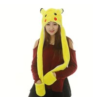 best military gloves - 100pcs Poke Go Pikachu Plush Hat With Gloves Cosplay Cap Long Ear flap Lovely Warm Hat Gloves Hollween Christmas Best Gift