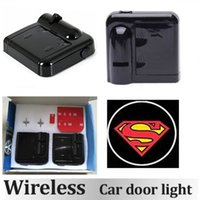 Wholesale 1Pair Wireless LED Car Door Light Superman Welcome Light Laser ghost Shadow Light led Projector Lamp Wireless Car Door Light SUPERMAN Logo