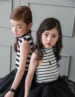 Cheap Gilrs stripe vest tops 2016 summer new children black white stripe T-shirt kids cotton tops girls best dress tops children clothing A8869
