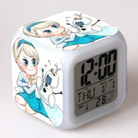 Wholesale Factory DirectWholesale Frozen Night Colorful Alarm Clock with New LED Kinds Colors Changing Digital Alarm Clock Anna and Elsa Thermometer