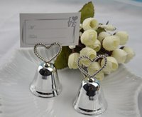 Wholesale Silver Heart Bell Place Card Holder Wedding favors with matching card for table card holders