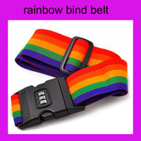 Wholesale 10pcs lotRainbow Stripe Travel Luggage Suitcase Strap Combination Secure Lock Safe Belt Strap m Baggage Belt Packaging Belt With Password