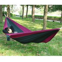 Wholesale Portable Outdoor Traveling Camping Parachute Nylon Fabric Hammock For Two Person Colors E2shopping