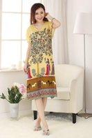 average short sleeve - cotton Chinese Women s classy robe Gown sleepwear Yellow average size