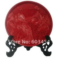 Wholesale handmade Great Wall of China Red Cinnabar Lacquer plate Cheap