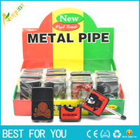 metal smoking pipes - Discreet hidden smoking pipe metal small oil cotton machine lighter shape smoking pipe