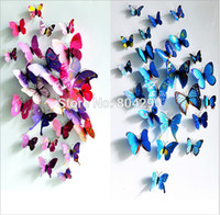 baby shower gift stickers - 50 set D Butterfly pvc Wall Sticker Home Decoration Wedding Decoration Baby Shower Party Gift