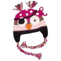 Girl Spring / Autumn Crochet Hats Novelty Pink Pirate Owl Hat,Handmade Knit Crochet Baby Girl Owl Animal Earflap Hat,Children Winter Hat,Toddler Photography Prop