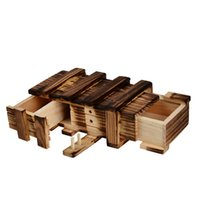 antique wooden puzzles - Antique Vintage Wooden Storage Hidden Magic Gift Box Brain Teaser Puzzle Box Chest Toy