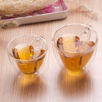Wholesale Double Layer Heart Shaped Clear Double Wall Glass Tea Cup With Handle Lovers Coffee Afternoon Tea Glass Mug Wedding Decor Gift