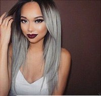 best wig store - 2016 Best Sellers store dong1235 wig shop gt gt gt Lady Ombre Two Tone Black To Grey Heat Resistant Fiber Synthetic Hair Wigs